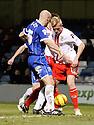 Jordan Burrow of Stevenage battles with Adam Barrett of Gillingham<br />  - Gillingham v Stevenage - Sky Bet League One - Priestfield, Gillingham - 26th November 2013. <br /> © Kevin Coleman 2013