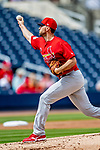 26 February 2019: St. Louis Cardinals pitcher Adam Wainwright on the mound during a Spring Training game against the Washington Nationals at the Ballpark of the Palm Beaches in West Palm Beach, Florida. The Cardinals defeated the Nationals 6-1 in Grapefruit League play. Mandatory Credit: Ed Wolfstein Photo *** RAW (NEF) Image File Available ***