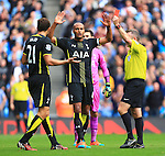 Tottenham's Federico Fazio is shown the red card - Manchester City vs. Tottenham Hotspurs - Barclay's Premier League - Etihad Stadium - Manchester - 18/10/2014 Pic Philip Oldham/Sportimage