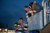 Anthony Watson of Bath Rugby signs autographs after the match. Aviva Premiership match, between Bath Rugby and Worcester Warriors on December 27, 2015 at the Recreation Ground in Bath, England. Photo by: Patrick Khachfe / Onside Images