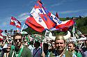 Supporters of Lega Nord (North League party) at Pontida meeting, Sunday, June 19, 2011. © Carlo Cerchioli..Militanti della Lega Nord al raduno di Pontida, 19 giugno 2011.