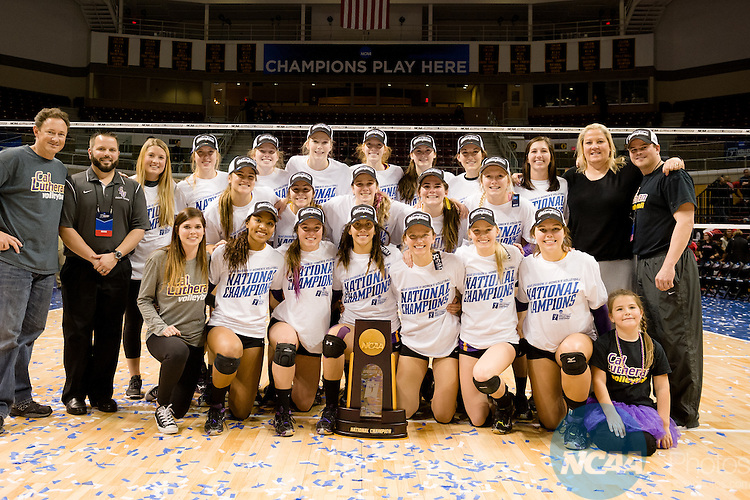 21 NOV 2015: Cal Lutheran celebrates their win in the Division III Women's Volleyball Championship held at Van Noord Arena on the Calvin University campus in Grand Rapids, MI. Cal Lutheran defeated Wittenberg 3-0 for the national title. Erik Holladay/NCAA Photos