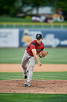 Madison Younginer (31) of the Sacramento River Cats delivers a pitch to the plate against the Salt Lake Bees  at Smith's Ballpark on May 17, 2018 in Salt Lake City, Utah. Salt Lake defeated Sacramento 12-11. (Stephen Smith/Four Seam Images)