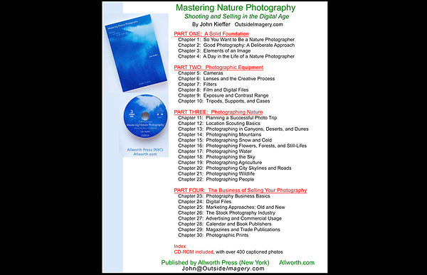 """Table of Contents for """"Mastering Nature Photography: Shooting and Selling in the Digital Age."""" by John Kieffer.<br /> John leads photo tours and workshops throughout Colorado, including Rocky Mountain National Park, Denver and Boulder."""
