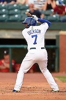 Chattanooga Lookouts first baseman O'Koyea Dickson (7) at bat during a game against the Birmingham Barons on April 24, 2014 at AT&T Field in Chattanooga, Tennessee.  Chattanooga defeated Birmingham 5-4.  (Mike Janes/Four Seam Images)