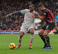 Bournemouth's Andrew Surman (right) battles with Liverpool's Georginio Wijnaldum (left) <br /> <br /> Photographer David Horton/CameraSport<br /> <br /> The Premier League - Bournemouth v Liverpool - Saturday 8th December 2018 - Vitality Stadium - Bournemouth<br /> <br /> World Copyright © 2018 CameraSport. All rights reserved. 43 Linden Ave. Countesthorpe. Leicester. England. LE8 5PG - Tel: +44 (0) 116 277 4147 - admin@camerasport.com - www.camerasport.com