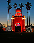 The entrance to the Self Realization Fellowship in Encinitas, California is lit up for Christmas. A popular California surfing spot, Swamis, derives its name from this church.