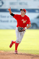 August 2, 2009:  Second Baseman Adam Buschini of the Williamsport Crosscutters during a game at Dwyer Stadium in Batavia, NY.  Williamsport is the Short-Season Class-A affiliate of the Philadelphia Phillies.  Photo By Mike Janes/Four Seam Images