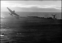 BNPS.co.uk (01202 558833)Pic: CharterhouseAuctioneers/BNPS<br /> <br /> A Supermarine Seafire failing to land.<br /> <br /> A remarkable wartime photo album that highlights the perilous nature of landing a fighter plane on an aircraft carrier in heavy seas has been unearthed.<br /> <br /> The black and white snaps show several Royal Naval aircraft coming a cropper while attempting to land on board HMS Fencer often in heavy seas.<br /> <br /> One set of images depict a Swordfish biplane crashing into the sea a few hundred yards off the aircraft carrier HMS Fencer.<br /> <br /> Other photos show a Supermarine Seafire about the crash into the superstructure.<br /> <br /> The album will be sold by Charterhouse Auctioneers in Sherborne, Dorset.