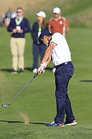 Bryson Dechambeau (Team USA) plays his 2nd shot on the 12th hole during Saturday's Foursomes Matches at the 2018 Ryder Cup 2018, Le Golf National, Ile-de-France, France. 29/09/2018.<br /> Picture Eoin Clarke / Golffile.ie<br /> <br /> All photo usage must carry mandatory copyright credit (&copy; Golffile | Eoin Clarke)