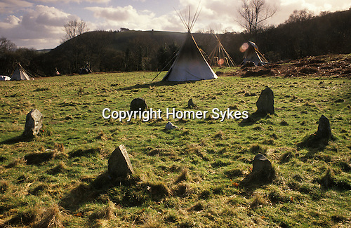 TeePee Valley near LLandeilo Wales UK. Hippy alternative Life style. Modern Stone Circle.