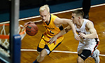 SIOUX FALLS, SD - MARCH 8:  Andreas Johnson #4 of West Virginia University Tech drives on Dylan Phair #10 of Indiana Tech at the 2018 NAIA DII Men's Basketball Championship at the Sanford Pentagon in Sioux Falls. (Photo by Dick Carlson/Inertia)