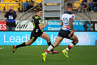 Beauden Barrett heads for the tryline during the Super Rugby match between the Hurricanes and Rebels at Westpac Stadium in Wellington, New Zealand on Saturday, 4 May 2019. Photo: Dave Lintott / lintottphoto.co.nz
