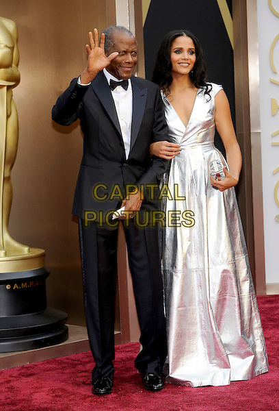 HOLLYWOOD, CA - MARCH 2: Sidney Poitier, Sydney Tamiia Poitier arriving to the 2014 Oscars at the Hollywood and Highland Center in Hollywood, California. March 2, 2014.  <br /> CAP/MPI/mpi99<br /> &copy;mpi99/MediaPunch/Capital Pictures