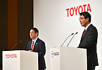 May 13, 2015, Tokyo, Japan - Presidents Akio Toyoda, left, of Toyota Motor Corp., listens as Masamichi Kogai of Mazda Motor Corp. speaks during a news conference at a Tokyo hotel on Wednesday, May 13, 20-15. Japans two automakers announced long-term partnership in technology in which Toyota will provide its fuel cell and plug-in hybrid technology in return for Mazda's proprietary Skyactive green technology. (Photo by Natsuki Sakai/AFLO)
