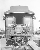 End view of observation car with Shavano drum head in Alamosa yards.<br /> D&amp;RGW  Alamosa, CO  5/1946