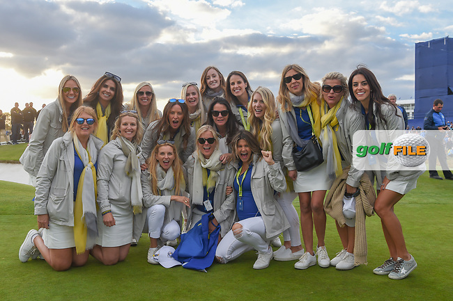 Team Europe wives and girlfriends assemble for a team photo following Sunday's singles of the 2018 Ryder Cup, Le Golf National, Guyancourt, France. 9/30/2018.<br /> Picture: Golffile | Ken Murray<br /> <br /> <br /> All photo usage must carry mandatory copyright credit (© Golffile | Ken Murray)