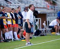 Virginia head coach Steve Swanson watches his team during the game at Klockner Stadium in Charlottesville, VA.  Virginia defeated Maryland, 1-0.