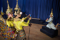 June 7th, 2008_Phnom Penh, Cambodia_ Dance troop members from the National School of Fine Arts, pose for photographs, shortly before performing the newly revived work of Preah Anruch Preah Neang Ossa.  It has been some 50 years, since this classical Khmer dance piece was performed publicly and is being produced by the Amrita Performing Arts Association.   Photographer: Daniel J. Groshong/Tayo Photo Group