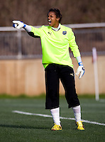 Karina LeBlanc of the Philadelphia Independence yells to her team during their preseason game at the Maryland SoccerPlex in Germantown, Maryland.
