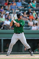 Catcher Colton Plaia (8) of the Savannah Sand Gnats bats in a game against the Greenville Drive on Friday, August 22, 2014, at Fluor Field at the West End in Greenville, South Carolina. Greenville won, 6-5. (Tom Priddy/Four Seam Images)