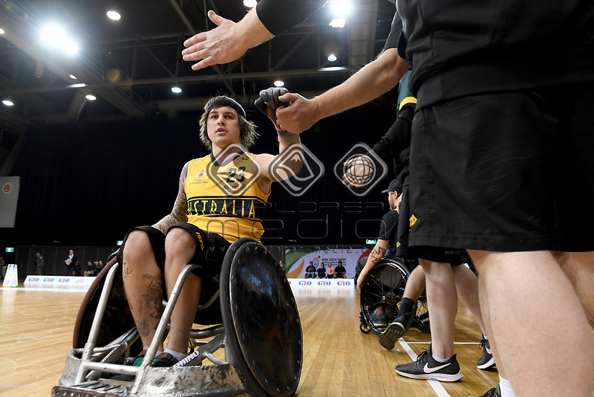 Jayden Warn (AUS) vs Japan<br /> Australian Wheelchair Rugby Team<br /> 2018 IWRF WheelChair Rugby <br /> World Championship / Day 4<br /> Sydney  NSW Australia<br /> Wednesday 8th August 2018<br /> © Sport the library / Jeff Crow / APC