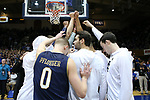 DURHAM, NC - JANUARY 29: Notre Dame players huddle before the game. The Duke University Blue Devils hosted the University of Notre Dame Fighting Irish on January 29, 2018 at Cameron Indoor Stadium in Durham, NC in a Division I men's college basketball game. Duke won the game 88-66.