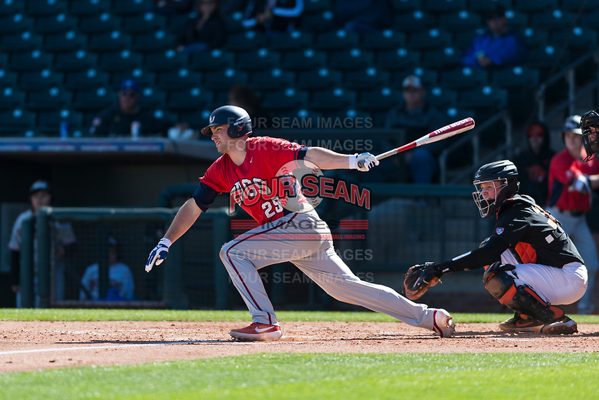 Gonzaga Bulldogs first baseman Nick Nyquist (25) follows through on his swing during a game against the Oregon State Beavers on February 16, 2019 at Surprise Stadium in Surprise, Arizona. Oregon State defeated Gonzaga 9-3. (Zachary Lucy/Four Seam Images)