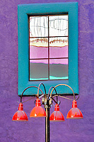 Colorful lamplight with windows in La Placita Village. Tucson. Arizona