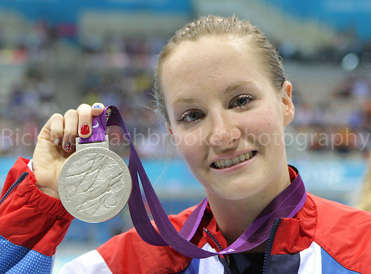Paralympics London 2012 - ParalympicsGB - Swimming held at the Aquatic Centre 1st September 2012  .Claire Cashmore celebrates with her Silver Medal after coming second in the Women's 100m Breastroke - SB8 Final at the Paralympic Games in London. .Photo: Richard Washbrooke/ParalympicsGB