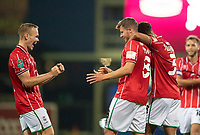 Lincoln City's James Jones, centre, celebrates scoring his side's fourth goal with team-mates, Anthony Scully, left, and Max Melbourne<br /> <br /> Photographer Chris Vaughan/CameraSport<br /> <br /> Carabao Cup Second Round Northern Section - Bradford City v Lincoln City - Tuesday 15th September 2020 - Valley Parade - Bradford<br />  <br /> World Copyright © 2020 CameraSport. All rights reserved. 43 Linden Ave. Countesthorpe. Leicester. England. LE8 5PG - Tel: +44 (0) 116 277 4147 - admin@camerasport.com - www.camerasport.com