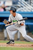 July 3, 2009:  Nate Simon of the Jamestown Jammers attempts a bunt during a game at Dwyer Stadium in Batavia, NY.  The Jammers are the NY-Penn League Short-Season Class-A affiliate of the Florida Marlins.  Photo by:  Mike Janes/Four Seam Images