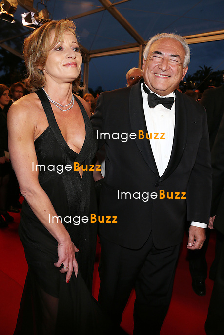 """Dominique Strauss-Kahn and Myriam L'Aouffir attend the """" Only Lovers Left Alive """" premiere during The 66th Annual Cannes Film Festival at the Palais des Festivals on May 25, 2013 in Cannes, France."""