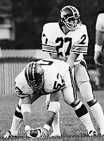 Al Wilson and quarterback Don Moorhead 1974 BC Lions. Photo copyright Scott Grant.