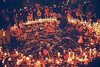 November 23, 1989. Prague, Czechoslovakia. People lighting candles in Vaclav Square in memory of compatriots hurt or killed in preceeding demos. (Photo Heimo Aga)