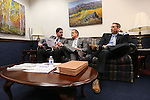 Lt. Gov. Mark Hutchison, center, and his chief of staff Ryan Cherry, left, talk with Sen. Scott Hammond, R-Las Vegas, in the final hours of the session at the Legislative Building in Carson City, Nev., on Monday, June 1, 2015. <br /> Photo by Cathleen Allison