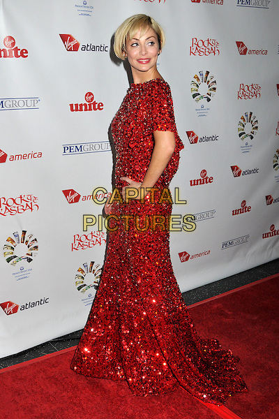 "NATALIE IMBRUGLIA .Sir Richard Branson's ""Rock The Kasbah"" Benefiting Virgin Unite at the Roosevelt Hotel, Hollywood, California, USA..October 23rd, 2008.full length red beads beaded jewel encrusted long dress hands on hips  short blonde bob hair .CAP/ADM/BP.©Byron Purvis/AdMedia/Capital Pictures."