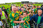Kilmoyley players celebrate after defeating Saint Brendan's in the County Senior Hurling Final at Abbeydorney on Sunday.