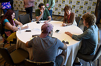 SAN DIEGO COMIC-CON© 2019:  20th Century Fox Television and Hulu's Solar Opposites Cast Members Sean Giambrone (R) and Mary Mack (2nd R) during the SOLAR OPPOSITES press room on Friday, July 19 at the SAN DIEGO COMIC-CON© 2019. CR: Frank Micelotta/20th Century Fox Television