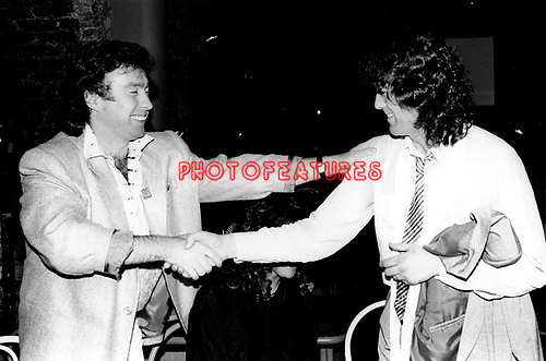 The Firm 1985 Paul Rodgers and Jimmy Page at release party foe Willie and the Poor Boys.© Photofeatures.