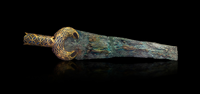 Mycenaean  Bronze dagger with inlaid lion hunt scene from Grave V, Grave Circle A, Mycenae, 16th cent BC. National Archaeological Museum Athens. 16th Cent BC. Cat No 394.  Black Background