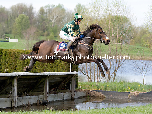 Brands Hatch soars over the water jump in the Alfred Hunt.