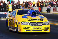 Nov 7, 2013; Pomona, CA, USA; NHRA pro stock driver Jeg Coughlin Jr during qualifying for the Auto Club Finals at Auto Club Raceway at Pomona. Mandatory Credit: Mark J. Rebilas-