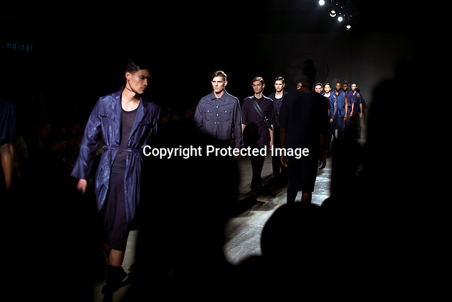 CAPE TOWN, SOUTH AFRICA JULY 3: Models walk for the fashion designer Lukhanyo Mdingi during a show at South Africa Menswear week 2015 on July 3, 2015 in Cape Town, South Africa. The second edition of SAMW featured designers from South Africa and around Africa showing spring and summer collections during the 3-day event. (Photo by Per-Anders Pettersson)