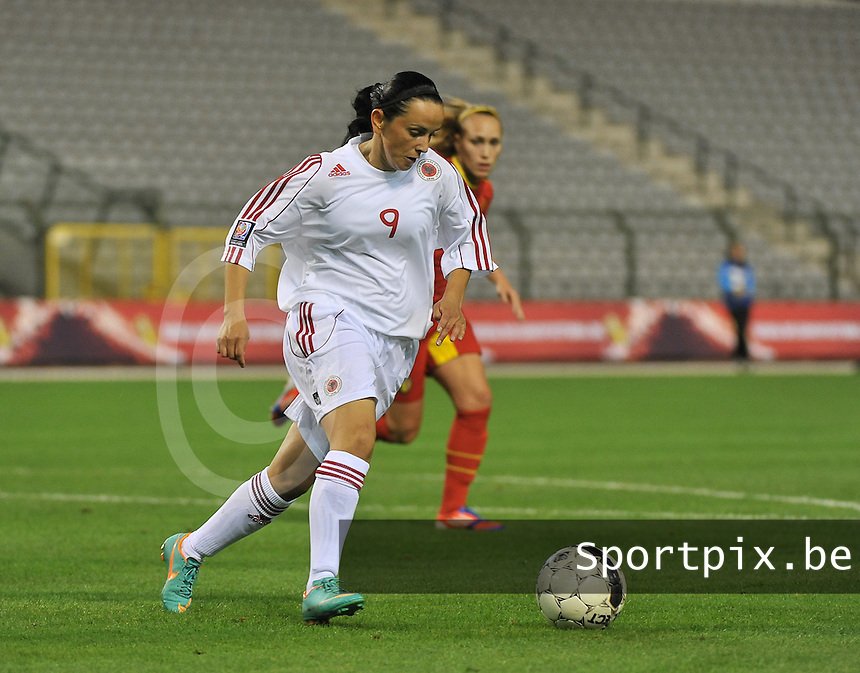 20130921 - BRUSSELS , BELGIUM : Albanian Berisha Xhemile (9) pictured during the female soccer match between Belgium and Albania , on the first matchday in group 5 of the UEFA qualifying round to the FIFA Women World Cup in Canada 2015 at the Koning Boudewijn Stadion , Brussels . Saturday 21th September 2013. PHOTO DAVID CATRY