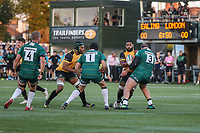 Andrew Durutalo of Ealing Trailfinders (2nd right) i tackled by Ollie Hoskins of London Irish during the Greene King IPA Championship match between Ealing Trailfinders and London Irish Rugby Football Club  at Castle Bar, West Ealing, England  on 1 September 2018. Photo by David Horn.