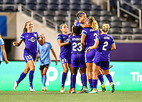 Orlando, FL - Saturday September 10, 2016: Kristen Edmonds celebrates scoring during a regular season National Women's Soccer League (NWSL) match between the Orlando Pride and Sky Blue FC at Camping World Stadium.