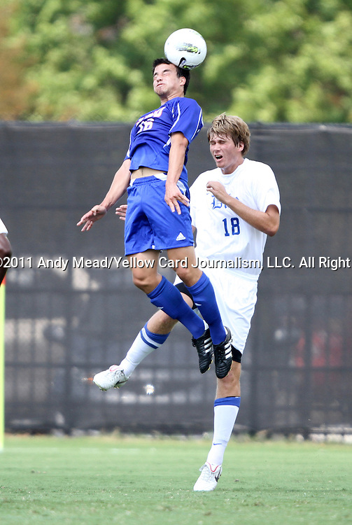 04 September 2011: SMU's Juan Castillo (16) and Duke's Nat Eggleston (18). The Southern Methodist University Mustangs defeated the Duke University Blue Devils 1-0 in overtime at Koskinen Stadium in Durham, North Carolina in an NCAA Division I Men's Soccer game.