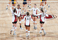 STANFORD, CA - September 2: Stanford celebrates during a volleyball match against UC Irvine, September 2, 2010 in Stanford, California. Stanford won 3-0.
