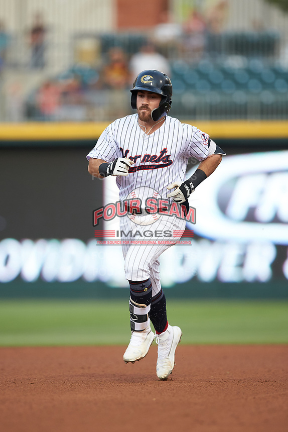 Danny Mendick (17) of the Charlotte Hornets rounds the bases after hitting a home run against the Louisville Bats at BB&T BallPark on June 22, 2019 in Charlotte, North Carolina. The Hornets defeated the Bats 7-6. (Brian Westerholt/Four Seam Images)